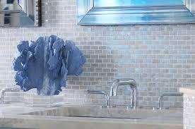 Backsplash In Bathroom Blue Beach Themed Bathroom With Blue Iridescent Glass Tile
