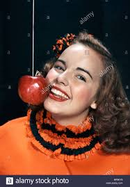 1940s Halloween Costume 1940s 1950s Smiling Young Woman Wearing Halloween Costume Bobbing
