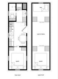 8x32 tiny house plan with a bedroom on main floor living small