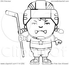 cartoon clipart of a black and white angry hockey vector
