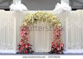 wedding backdrop outdoor beautiful flowers wedding backdrop on outdoor stock photo