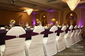 spandex banquet chair covers white ruched spandex chair covers with a hint of eggplant from a