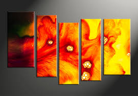 5 piece canvas red yellow abstract decor