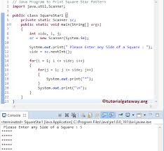 java pattern programs for class 10 java program to print square star pattern