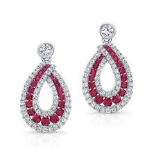 drop diamond earrings color white gold ruby tear drop diamond earrings