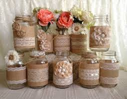 jar vases rustic burlap and lace covered jar vases 2156921 weddbook