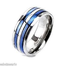 mens stainless steel wedding bands men s blue bands stainless steel cz wedding band edwin earls jewelry