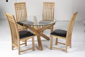 Glass And Oak Dining Table Set Oporto Dining Table In Solid Oak And Clear Glass With 4