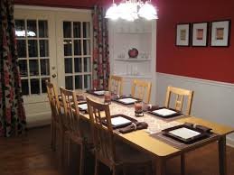 accent walls in dining room rectangle dark brown wooden table pb