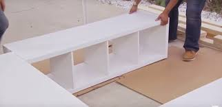 Build Platform Bed With Storage Underneath by With A Just A Few Basic Shelving Units And 2x4s You Can Build Your