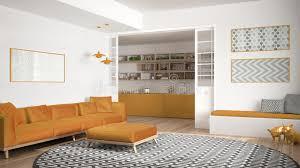 grand tapis de cuisine salon minimaliste avec le sofa le grand tapis rond et la cuisine i