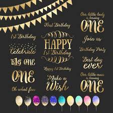 Baby Boy First Birthday Invitation Cards First Birthday Gold Foil Clipart Word Art Photo Overlay