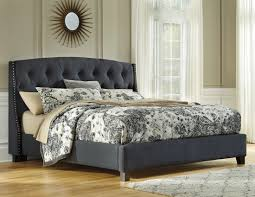 bedroom grey upholstered platform bed with tufted headboard using