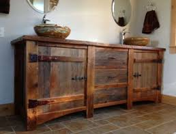 rustic wood for sale heritage collection barn wood vanity with copper sinks home regard