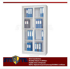 Sliding Door Bookcase Self Assembly Home Furniture White Bookcase With Glass Sliding