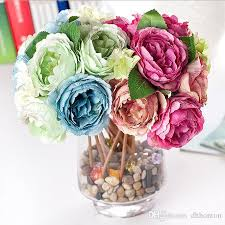 2017 27cm artificial peony flower silk handmade flowers indoor