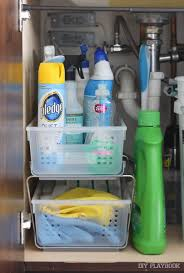how to organize the cabinet under your kitchen sink cleaning