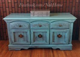 Paint Wood Furniture by Furniture Upcycle Shabby Chic Turquoise Blue Vintage Buffet Tv