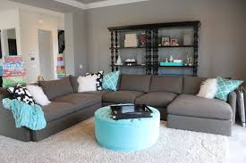 grey living room with blue accents