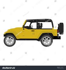 jeep yellow vector illustration yellow safari travel car stock vector