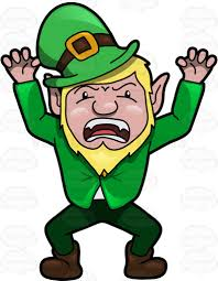 a leprechaun acting up to scare people cartoon clipart vector toons