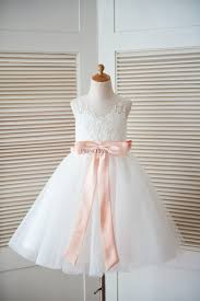 Wedding Dresses With Bows Ivory Lace Tulle Keyhole Back Wedding Flower Dress With Blush
