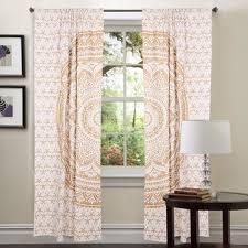 White Window Treatment Bohemian Set Indian Mandala CurtainsIndian - Living room curtain sets