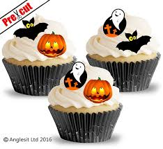 36 x halloween mix edible rice wafer paper cup cake toppers