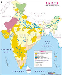 map of be map of india depicting the hazards which occur in the