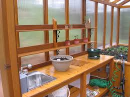 Outdoor Potting Bench With Sink Cedar Greenhouse With Potting Bench By Jhtuckwell