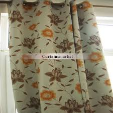 Brown Floral Curtains Eco Friendly Brown And Orange Floral Curtains