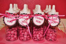 baby bottle centerpieces girl baby shower favor ideas pink m2m candy on clear glass bottle