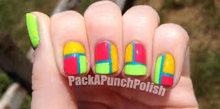 packapunchpolish neon color block nail art