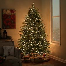 7 5 ft pre lit feel real nordic spruce hinged christmas tree
