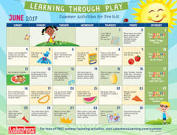 summer learning calendars at lakeshore learning