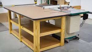 table saw workbench plans build a workbench outfeed table youtube