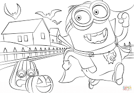 minions hallowen coloring page free printable coloring pages