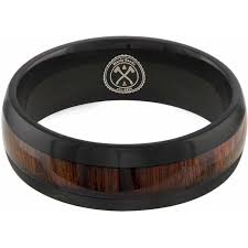 manly wedding bands the cowboy black tungsten w koa wood wedding band manly bands