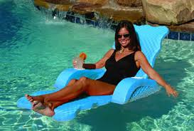 Floating Pool Lounge Chairs Scallped Folding Lounge Aquamarine Swimming Pool Float Chair Lounge
