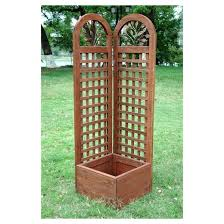rectangular wood trellis screen and planter system natural