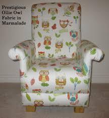 prestigious ollie owl fabric child u0027s chair in marmalade birds