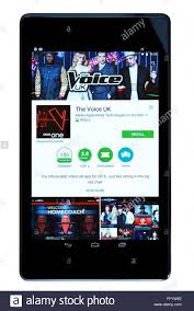 androids tv show uk tv show the voice app on an android tablet pc dorset