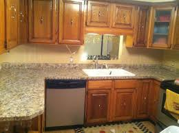 Kitchen Countertop And Backsplash Combinations Honey Oak Kitchen Cabinets With Black Ideas Also Counters And