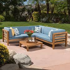 Patio Sectional Sofa Amazon Com Ravello Outdoor Patio Furniture 4 Piece Wood Outdoor