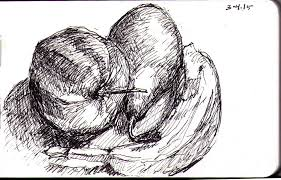 still life of a pear an apple and a banana in ballpoint pen one