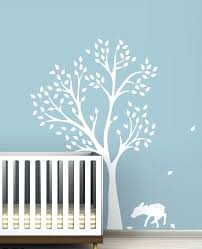 wall decor yellow and grey owl art for kids with tree decal for