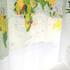 Shower Curtain Map World Map Shower Curtain