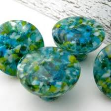Sea Glass Bubble Knobs Imported From India Pair Not - Glass kitchen cabinet pulls