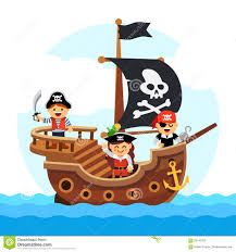 cartoon kids pirate ship sailing sea stock vector image 59145700