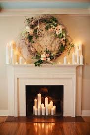 Home Decor Candles Mantel Fireplace Mantel Decor With Glass Candle Holders And Photo